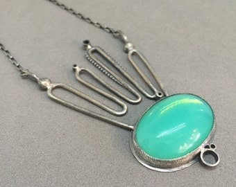 glowing seafoam blue green necklace pendant everyday statement necklace metalsmith contemporary modern