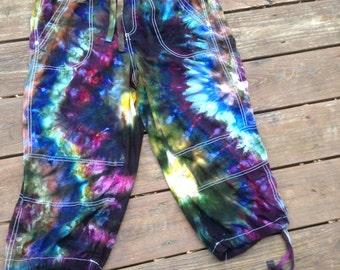 Size 14 tie dye pants cropped pants cargo shorts hippe pants