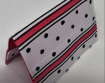 SAMPLE SALE - Ready to Ship - Passport Holder Cover Case Cruise Holiday Travel Holder - Dark Pink and Black Stripe with Black Dots