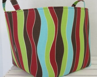"CLEARANCE/ SALE - Fabric Organizer Bin Toy Storage Container Basket - Mod Wavy Stripes Aqua Lime Green Brown  - 10"" x 10"" x 10"" tall"
