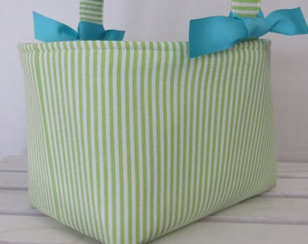 Easter Fabric Candy Egg Hunt Basket Bucket Storage Organizer - Green White Stripe -PERSONALIZED/Name Tag Available - See Note in Listing