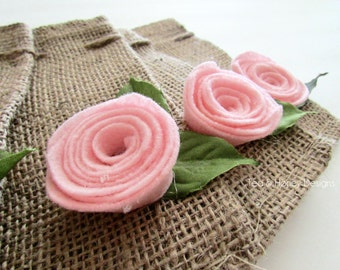 Rustic Wedding, Burlap Favor Gift Bags with Pink Felt Flowers Small Set/5