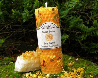 Sun Magick Beeswax Spell Candle - Success, Illumination, Courage, Power, Creativity, Boosting Energy, Enlightenment, Lugh, Sol, Pagan, Wicca