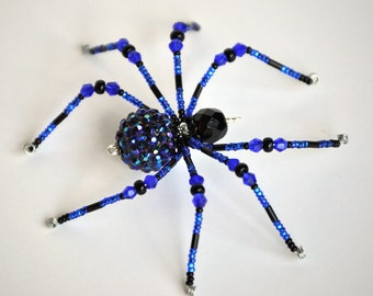 Helena - cobalt blue and black glass beaded spider goth sun catcher - Halloween decoration - Christmas ornament
