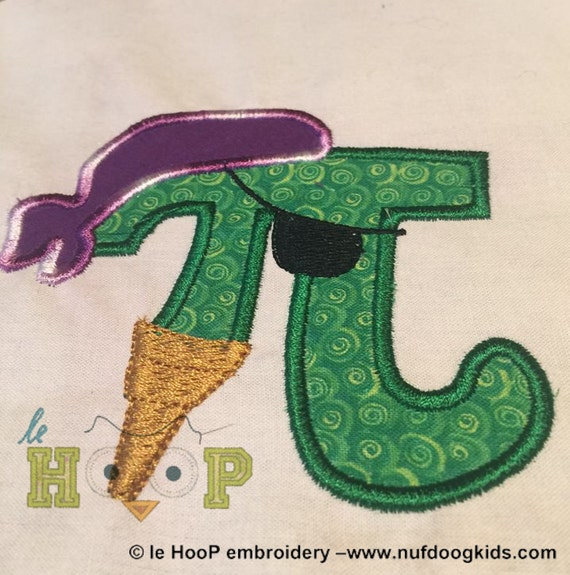 Pi rate machine embroidery applique design