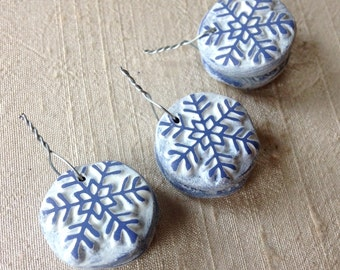 Tiny Blue Snowflake Charms