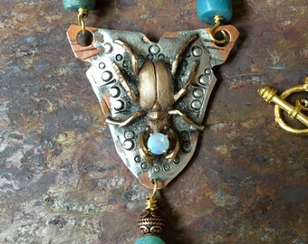 Copper Pewter and Brass Beetle Necklace with Opal and Trade Beads