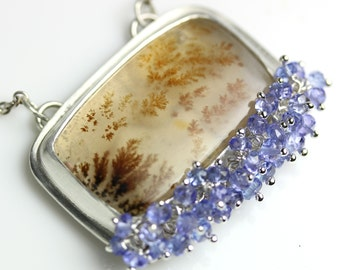 Kazakhstan Dendritic Agate Necklace with Tanzanite Rondelles Sterling Silver
