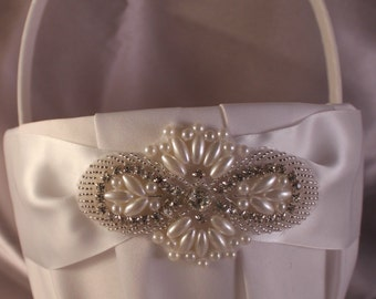 Large-  White or Ivory Flower Girl Basket-Pearl and Rhinestone Applique-Custom Ribbon Colors-Girls Age 8+ years