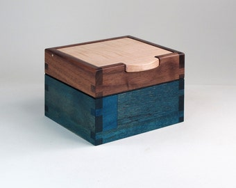 Keepsake Box, Walnut, Maple, Teak Hardwoods, Blue