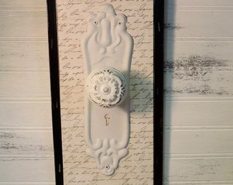 French Country Script Decorative Doorknob Hook Plaque, Shabby Decor, Cottage Chic