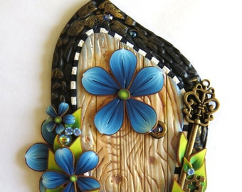 Blue Flower Fairy Door with a Brass Key