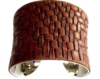 Distressed Brown Woven Herringbone Leather Cuff bracelet - by UNEARTHED