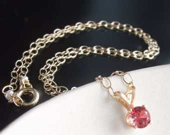 ON SALE 15% OFF 14k Solid Gold Petite Pink Spinel Necklace - Custom Made to Order