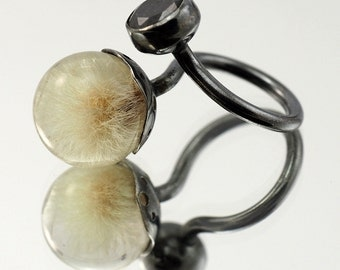 Dandelion and Onyx Ring, Resin Ring, Oxidised Sterling Silver Ring