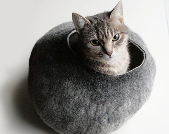ON SALE Cat Nap Cocoon / Cave / Bed / House / Vessel - Hand Felted Wool - Crisp Contemporary Design - READY To Ship Warm Gray Stone