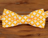 Mens yellow orange bow tie - orange white cotton bowtie, bow tie for men and teen boys, mens bow tie, wedding bow tie, spring tie, groom tie