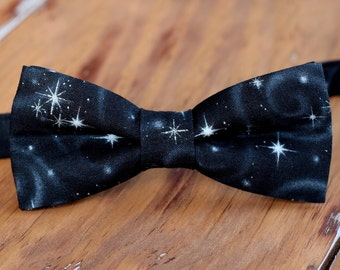 Men's New Year's Eve bow tie - black silver star bowtie - teen & men - mens holiday bow tie - mens party bow tie - mens stars bow tie - gift