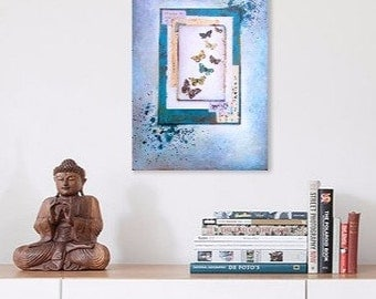 Original art canvas mixed media collage, blues, butterflies, painting, key, vintage book pages, Wings of Faith.