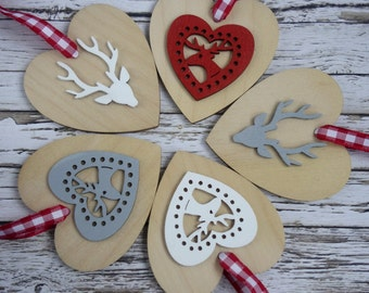 Red, white and grey rustic natural wood heart reindeer Christmas ornaments modern decorations set of 5