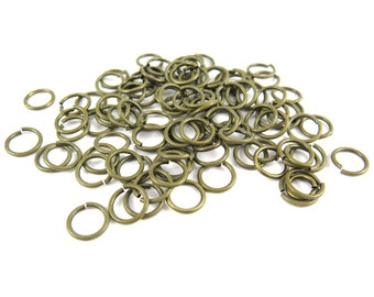 Antiqued Brass Round Jump Rings - 8mm - 13.8 grams (approx. 120x)  F623