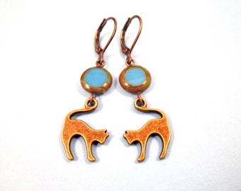 CAT Earrings, Blue Picasso Glass Beads and Brass Dangle Earrings, FREE Shipping U.S.