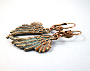 Angel Wing Earrings, Teal Verdigris Patina, Brass Dangle Earrings, FREE Shipping U.S.