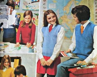 Kids Knitting Patterns Schooldays Beehive Patons 3007 Children Sweater Cardigan Vest DK Yarn 4 Ply Yarn Vintage Paper Original NOT a PDF
