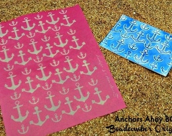 Anchors Ahoy Silkscreen Design BC53 for polymer clay, paper, fabric, glass, metal and more