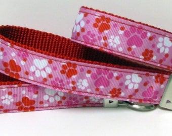 Paw Prints on Red Nylon Webbing, Red, White and Pink Wrislet Keyfob/Keychain