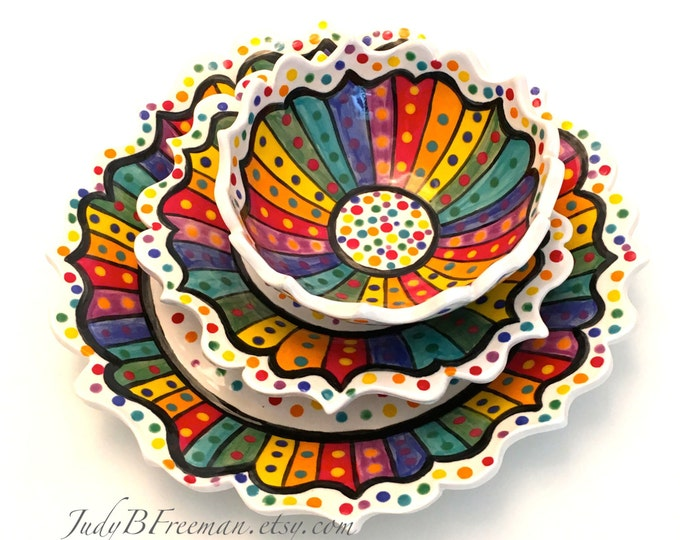 Featured listing image: Stoneware Ceramic Three Piece Place Setting  Dinner Plate Salad Plate Bowl Rainbow Striped Dotted on White Made to Order PL0009