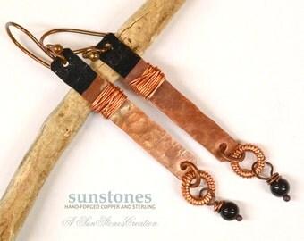 Hammered Copper Earrings E874