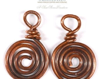 Handmade Rustic Copper Jewelry Components - 2 pieces JC431