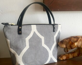 Irene Bag- Gray Linen with Black Leather Handles and Silk Interior
