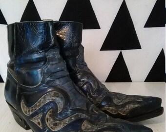 vtg mens SENDRA navy blue inlaid leather snakeskin ankle cowboy riding biker boots cuban heel UK 7.5 eu41 USA8