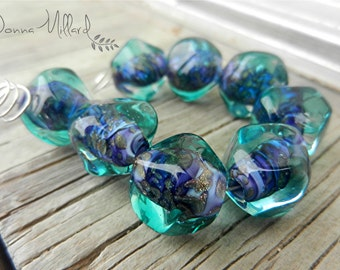HANDMADE LAMPWORK Glass Bead Set Donna Millard sra purple teal aqua bling statement jewelry her bohemian style