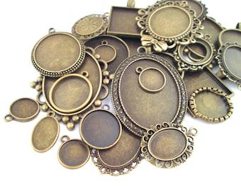 Assorted Brass Pendant Setting Grab Bag