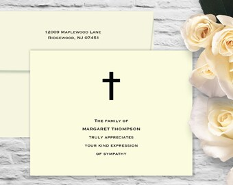 Simple Cross Sympathy Flat Card with Printed Envelope - Ivory