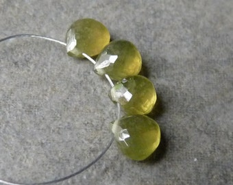 AAA Vesuvianite Faceted Heart Briolettes - 6mm - 4 Beads