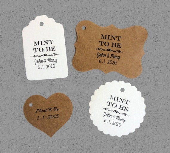 Mint To Be Tag - 50 Wedding Tags - Personalized Tags