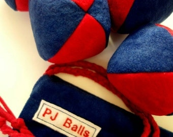 105g - 4 SOFT JUGGLING BALLS With Bag - Dark Blue and Red