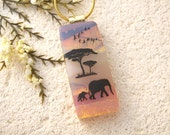 Slim Elephant Necklace, Safari Necklace,  Baby Elephant Necklace, Fused Dichroic Glass Jewelry, Mother & Baby Elephant Necklace,  121615p108