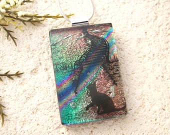 Rainbow Bridge Necklace, Memorial Pet Necklace, Cat Jewelry,  Dichroic Glass Jewelry, Fused Glass Jewelry, Silver Necklace, 021416p113