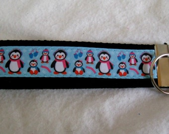 Penguin Key Fob - Winter Key Chain - Penguins Wristlet - BLACK