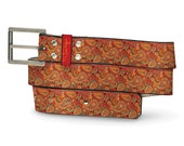 You're Driving Me Paisley Leather Belt, Paisley Belt, Leather Belt Colorful, Driving