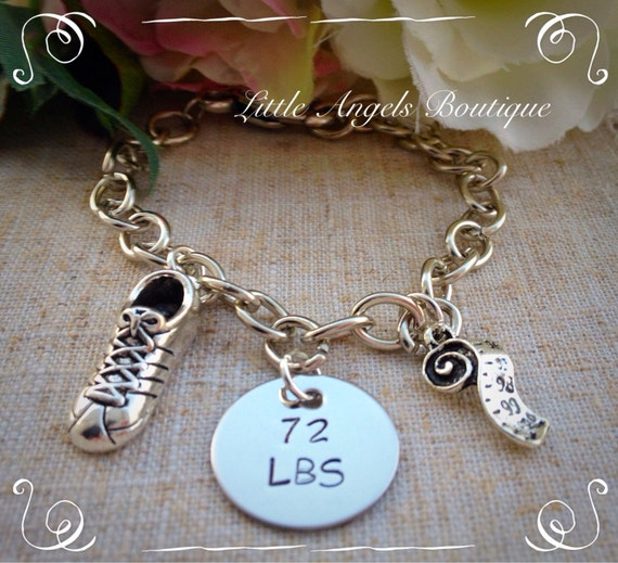 Hand Stamped Weight Loss Accomplishment Bracelet with charms lost weight BE004