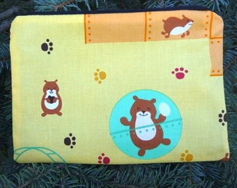 Hamster zippered bag, make up bag, cosmetic case, accessory bag, Hamster World, The Scooter