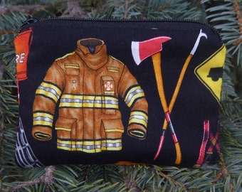 Firefighter coin purse, gift card pouch, credit card pouch, milk money pouch, The Raven