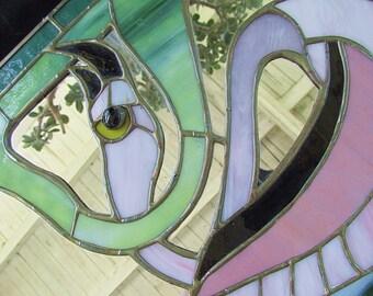 Stained Glass Wall Mirror Stylized Flamingo