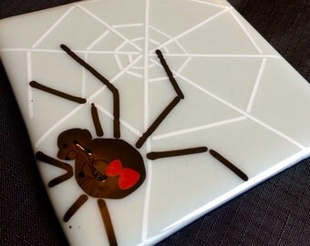 Fused glass square Halloween black widow spider web trivet One of a kind
